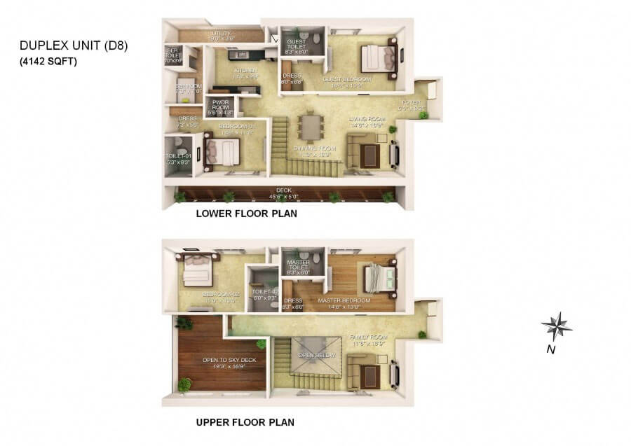 Rj group 5 bhk duplex floor plan